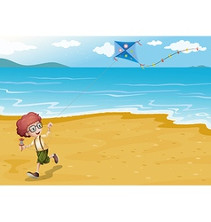 A beach with a boy playing vector image vector image