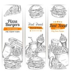 Fast food snacks meal sketch banners set vector image vector image