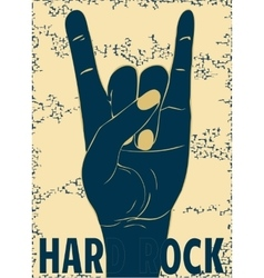 Rock hand gesture on yellow background vector image vector image