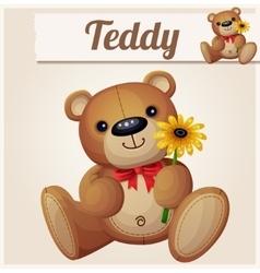 Teddy bear with yellow flower Cartoon vector image vector image