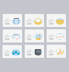 website and mobile flowcharts with icons vector image vector image
