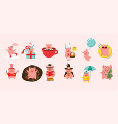 12 cute cartoon pigs representing 12 month of the vector image
