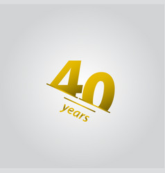 40 years anniversary celebration gold line vector