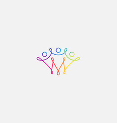 abstract happy people colorful logo icon design vector image