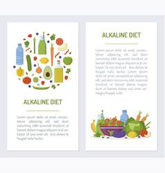 Alkaline diet set flyers vector