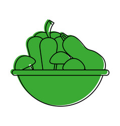 assorted vegetable bowl icon imag vector image