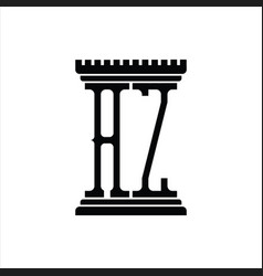 Az logo monogram with pillar shape design template vector