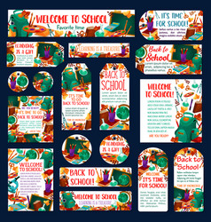 Back to school education banners posters vector