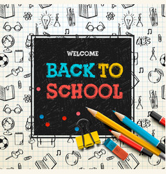 Back to school poster sketchy notebook doodles vector