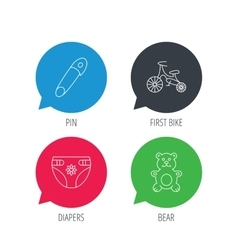 Bear toy diapers and first bike icons vector