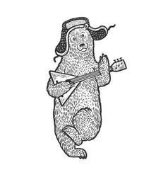 Bear with earflaps and balalaika sketch vector