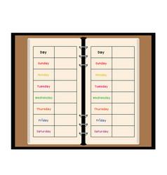 black notebook weekly planner vector image