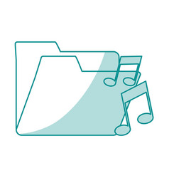 Blue shading silhouette of music folder vector