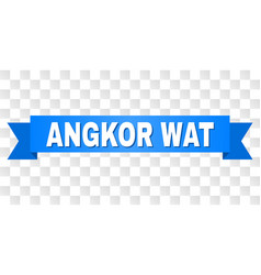 Blue stripe with angkor wat caption vector