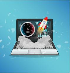 Broken display laptop using internet speed test vector