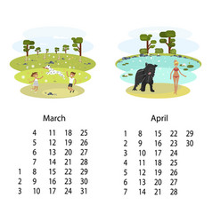Calendar 2018 march april vector