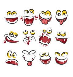 Cartoon faces emotions isolated on white vector