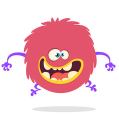 Cartoon happy monster with big mouth vector