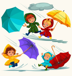Children walking under raining sky with an vector