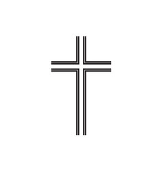 christian symbol black thin line cross icon vector image