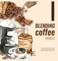 Coffee arabica beans bag with cup cinnamon vector