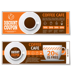 Coffee discount coupon or gift voucher vector