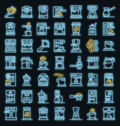 coffee machine icons set neon vector image