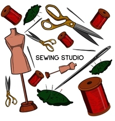 Colored hand drawn sewing icons set vector