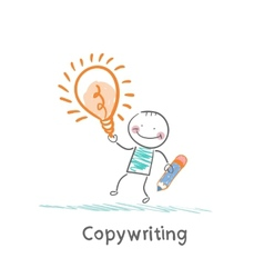 Copywriter holding a pencil and an idea vector image