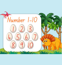 Count number from one to ten dinosaur theme vector