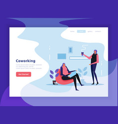 Coworking flat landing page vector