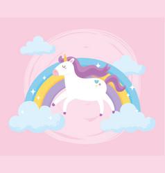 cute magical unicorn with purple mane rainbow vector image