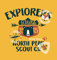 cute wildlife explorer scout company vector image