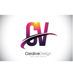 Cv c v purple letter logo with swoosh design vector