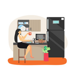 daily life business woman having lunch break vector image