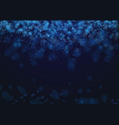 dark blue light abstract glittering bokeh vector image