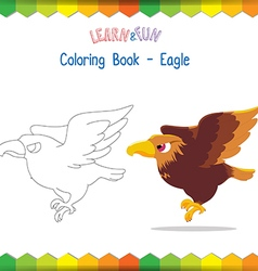 Eagle coloring book educational game vector image