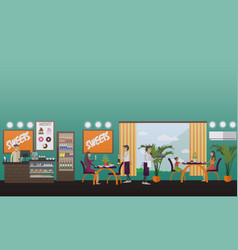 eatery concept in flat style vector image