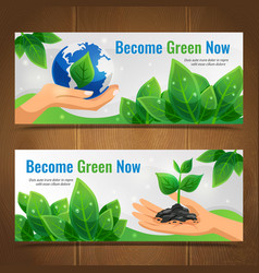 ecology horizontal banner set vector image