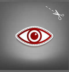 eye sign red icon with for vector image vector image