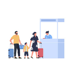 family at passport control at airport vacation vector image