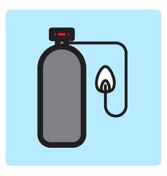 Flat color oxygen tube icon vector