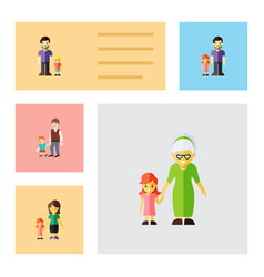 flat icon family set of daugther father vector image