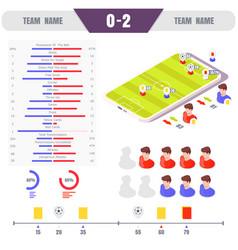 football match online statistics isometric vector image