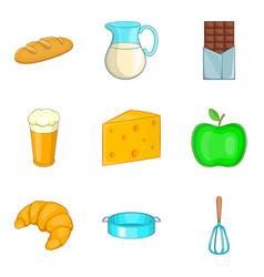 French bakery icons set cartoon style vector