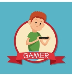 Gamer playing mobile devide banner blue backgroung vector
