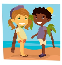 Girl on the beach beach vacation girl and boy vector