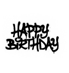 graffiti happy birthday sprayed in black vector image