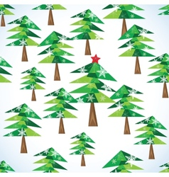 Green Christmas fir trees seamless background vector image