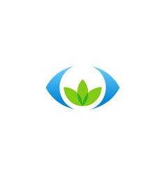 Green leaf organic vision logo vector